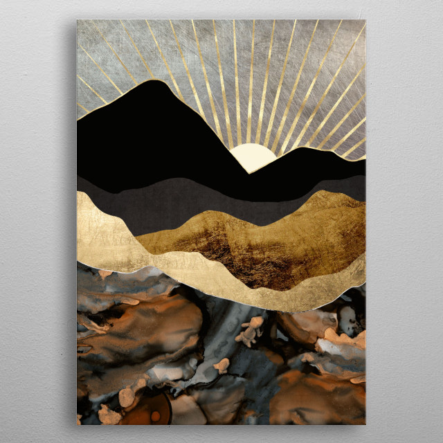 Abstract landscape of copper and gold mountains with sun rays metal poster