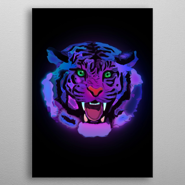 Illustration of glowing wild tiger inspired by dreams. metal poster