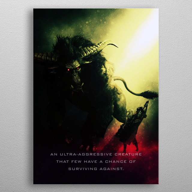 An ultra-aggressive creature that few have a chance of surviving against. Sports powerful arms that pack a punch, and turns gold when angry. metal poster
