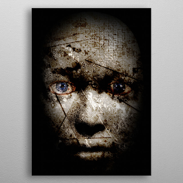 Scary human face. Blue Eyes metal poster