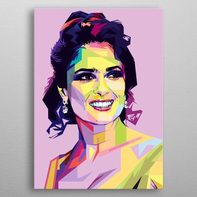 Pop Art style in WPAP of Salma Hayek Pinault,  a Mexican and American film actress and producer. metal poster