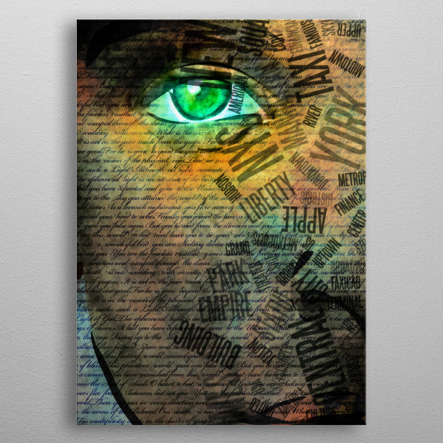 Girl face and NYC Text metal poster