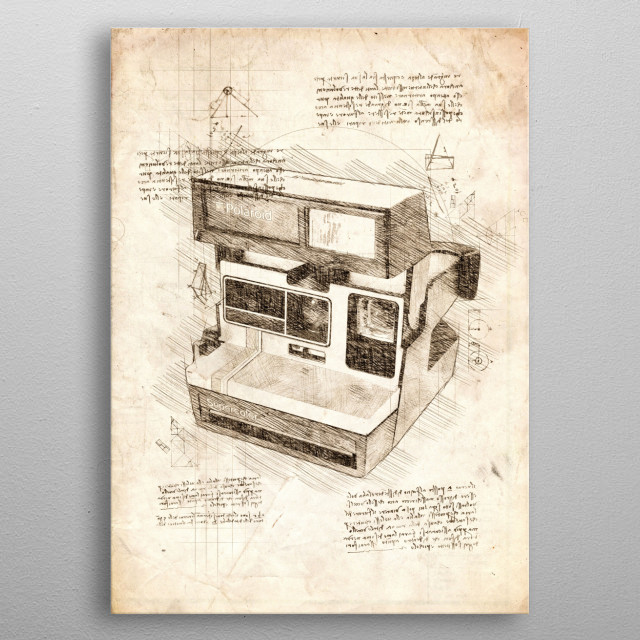 Sketch of a Polaroid Instant Camera metal poster