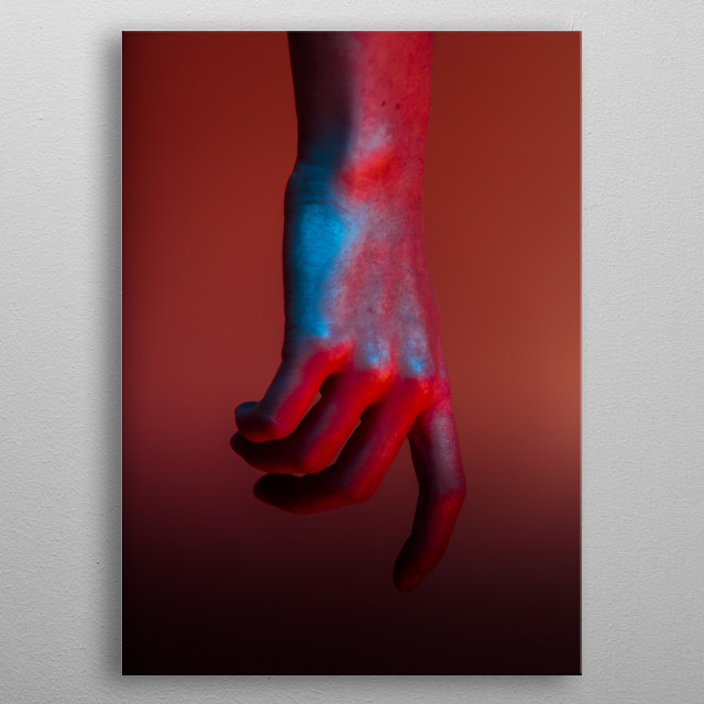 decorative photograph of a hand. metal poster