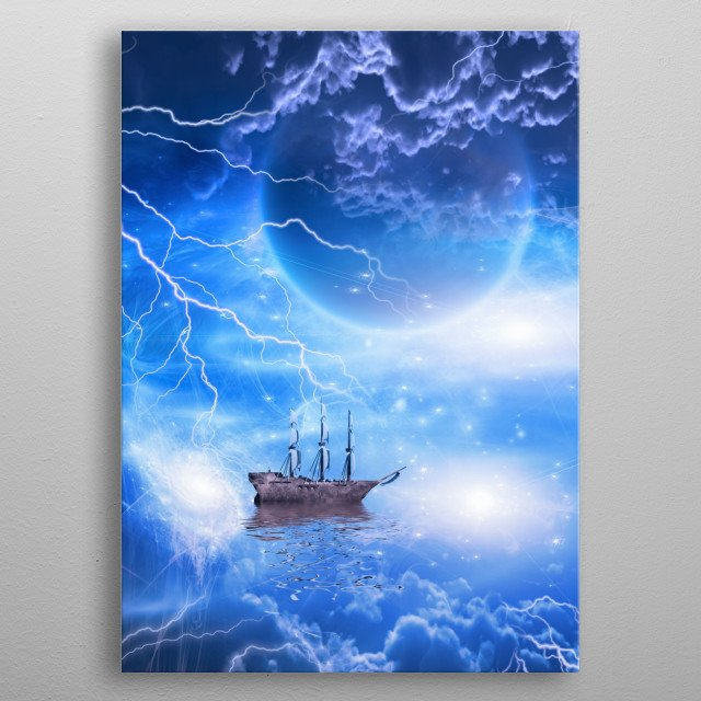 Sailing ship with full sails in fantastic scene metal poster