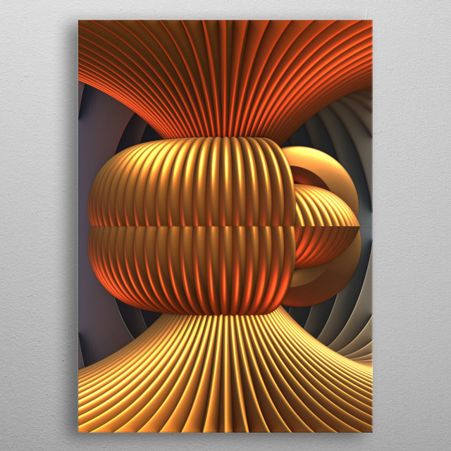 A three-dimensional fractal design with metallic tones. metal poster