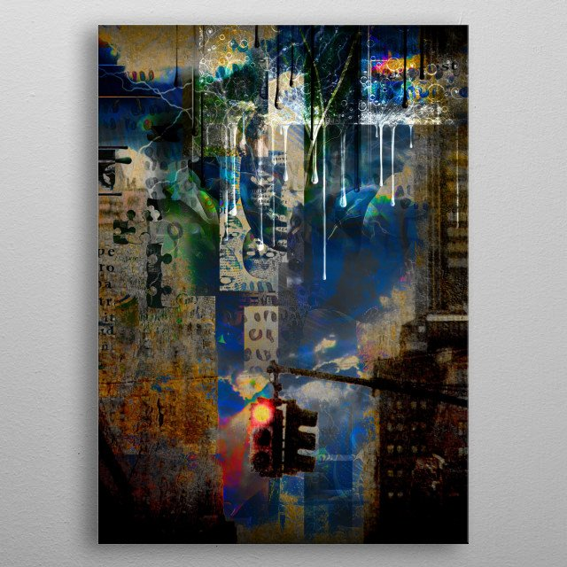 Modern digital art. Surreal urban grunge. Mixed media metal poster