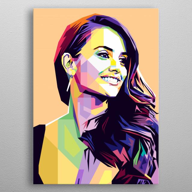 Pop Art style in WPAP of Penelope Cruz Sanchez, a Spanish actress and model. metal poster