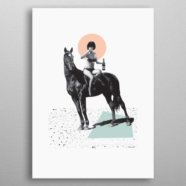 Surrealist collage art print of a girl riding a horse. Collaged from vintage black and white photographs and geometric shapes. metal poster