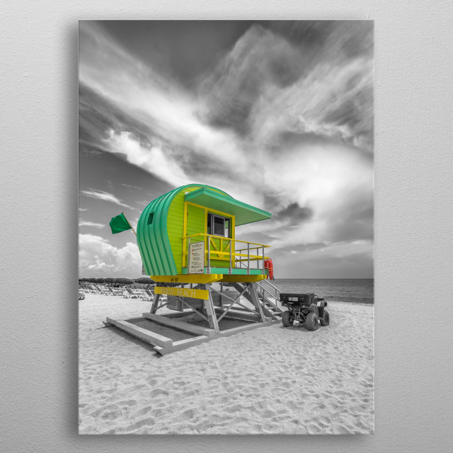 Lifeguard tower on the beach of Miami Beach overlooking the Atlantic Ocean. Classic beach scene in a characteristic Florida flair. metal poster
