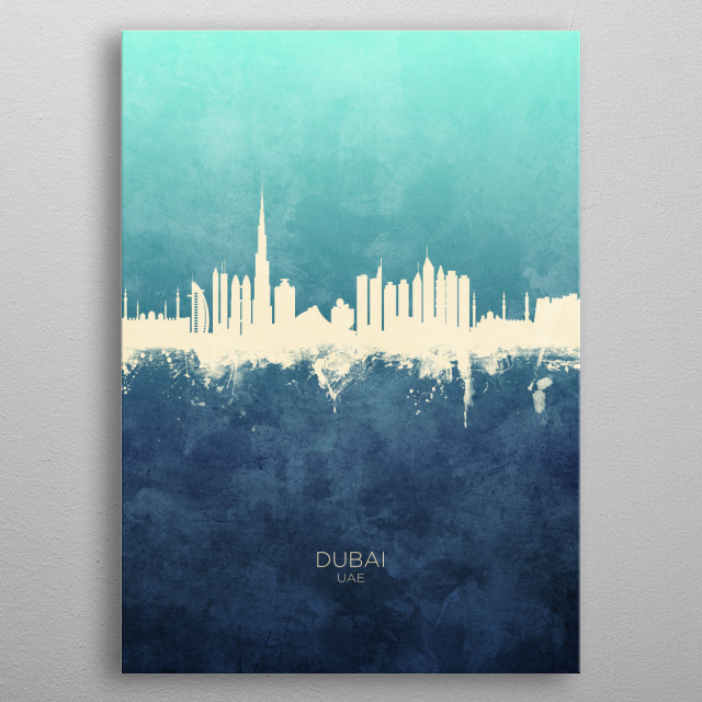 Watercolor art print of the skyline of Dubai, UAE metal poster