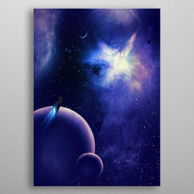 Starship investigating a cosmic fracture in space and time. metal poster