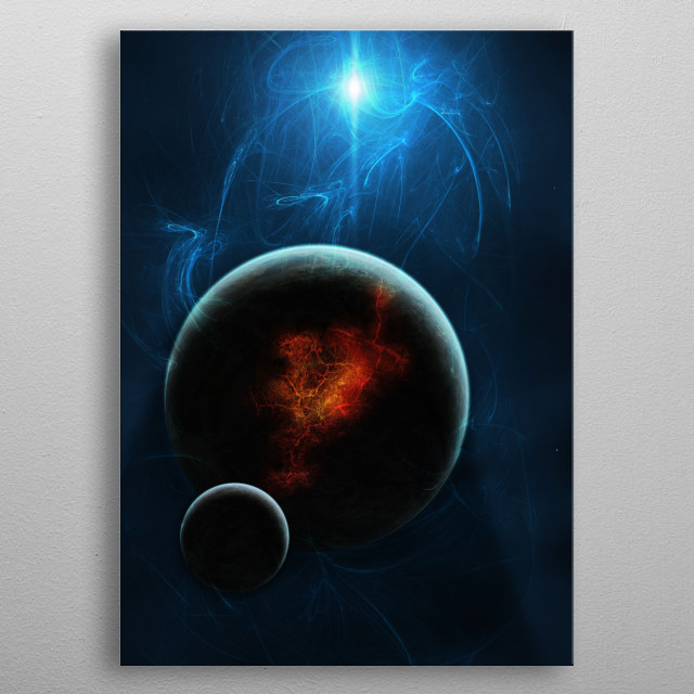 """A star is about to go """"nova"""", which will obliterate all planets nearby. metal poster"""
