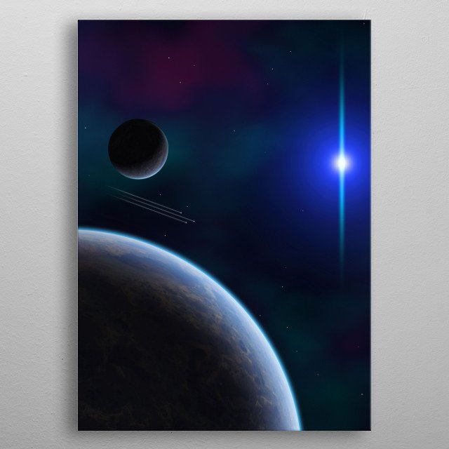 """Depiction of three """"shooting stars"""" flying past planetary bodies. metal poster"""