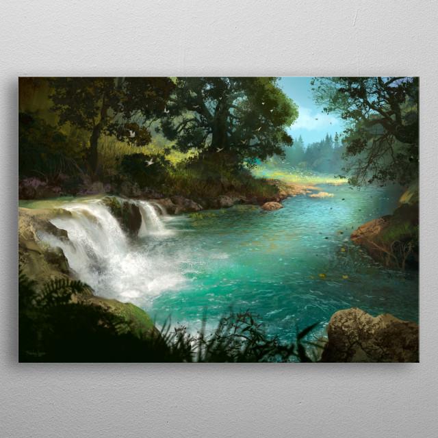 landscape digital painting. metal poster