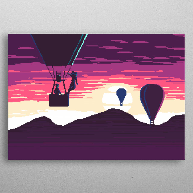 Pixel art painting of hot air balloons at sunset. metal poster