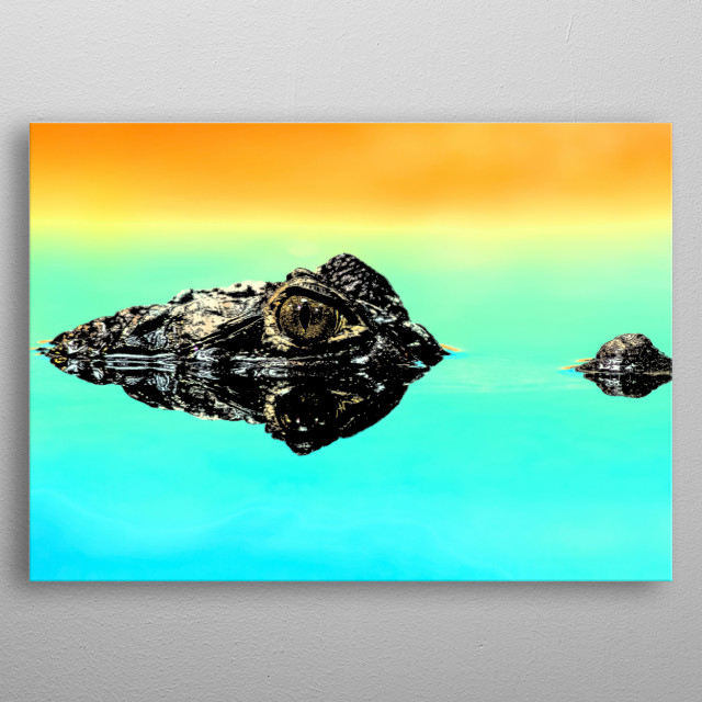Crocodiles are essentially dinosaur-like reptiles that are walking the earth and hunting whatever they can.  metal poster
