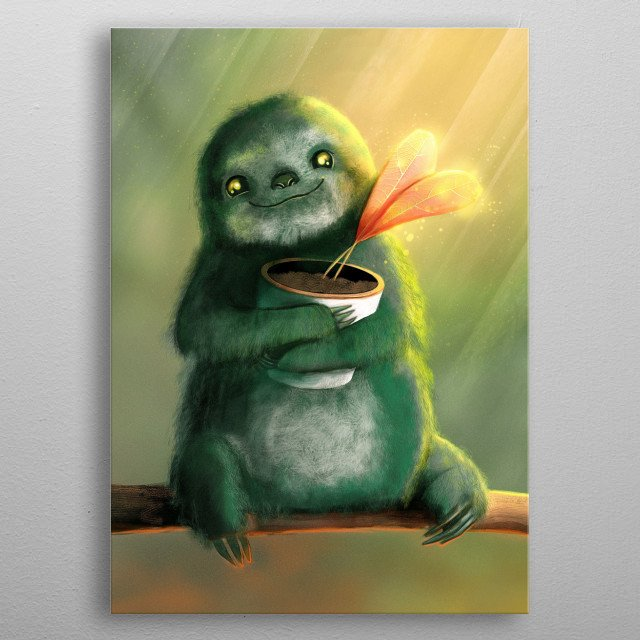 This cute sloth from the rainforest has a gift for you: a heart plant from your furry friend. Enjoy this baby sloth painting with his big ey metal poster