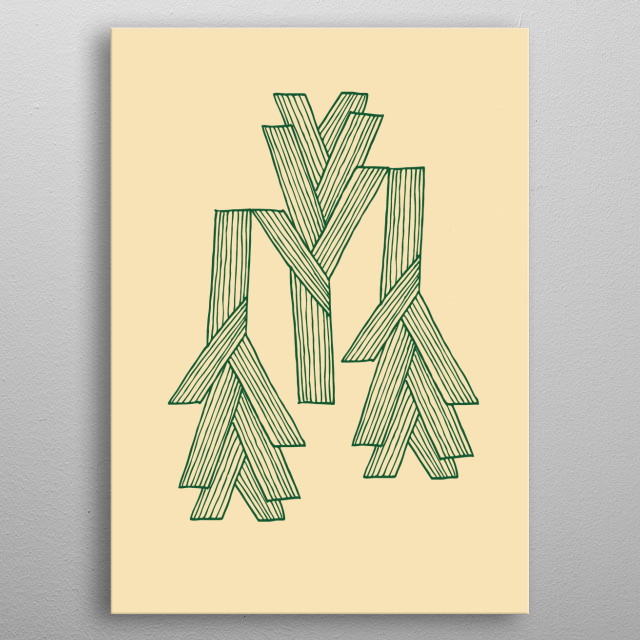 An illustration of three leeks, inspired by Scandinavian design - funky and abstract illustration. Green on beige earth colours. metal poster