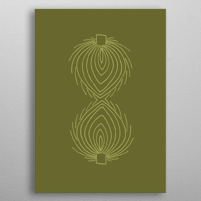 An illustration of two artichokes green on green. Scandinavian design. metal poster