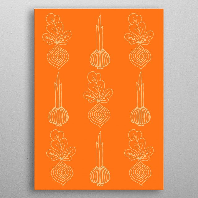 An illustration of an onion and beet pattern in Scandinavian design. Beige on a pumpkin orange background. Fall colours. metal poster