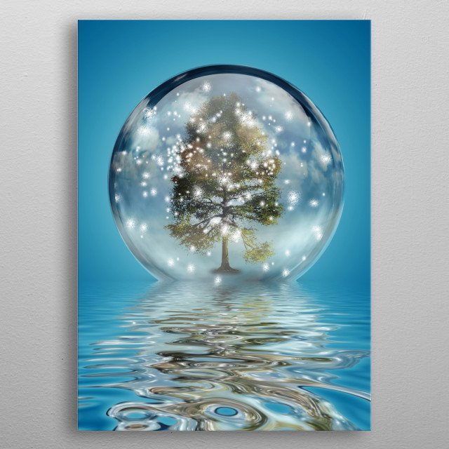 Green Tree in Christmas Ball metal poster