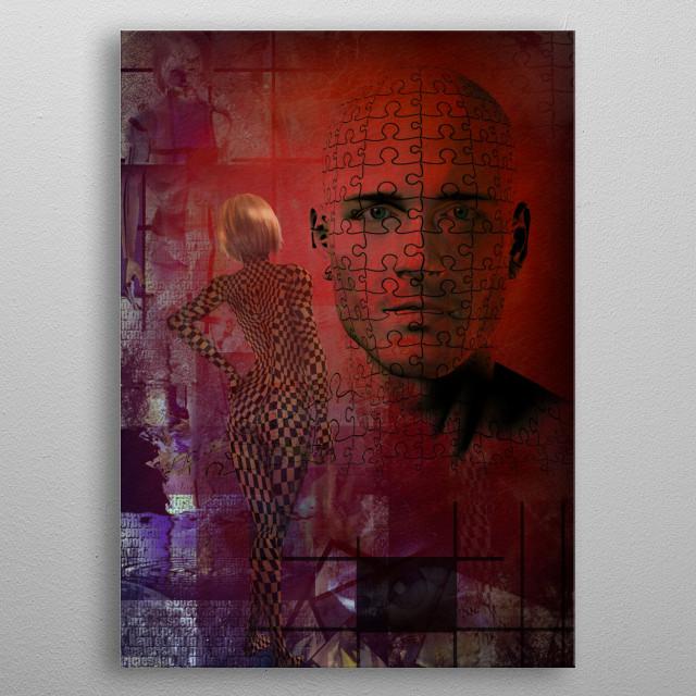 Man and woman abstract. Modern digital art metal poster