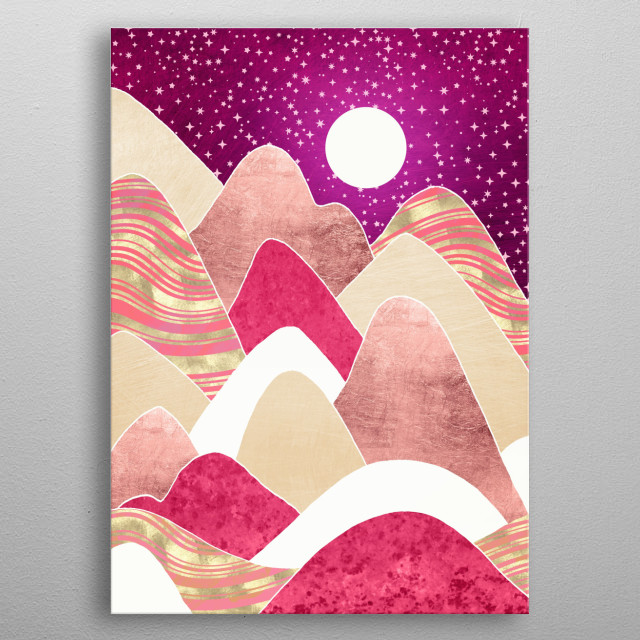 Abstract landscape of a candyland vista with gold, hills, stars and pink metal poster