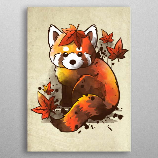 autumn and a cute red panda metal poster