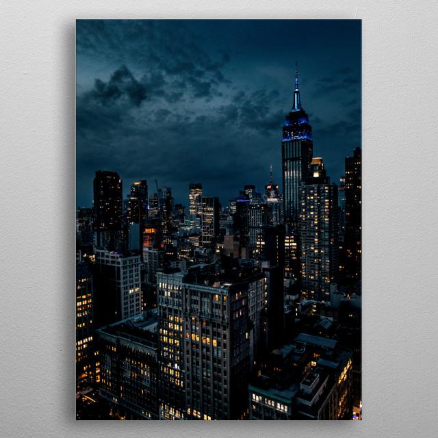 skyline manhattan new york city at night metal poster