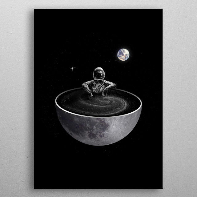 Chilling in the moon tub. metal poster