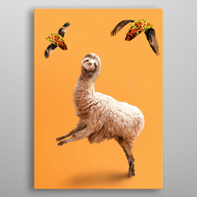 Pick up this weird funny sloth llama with flying taco design. This makes a perfect gift so pick one up today.  metal poster