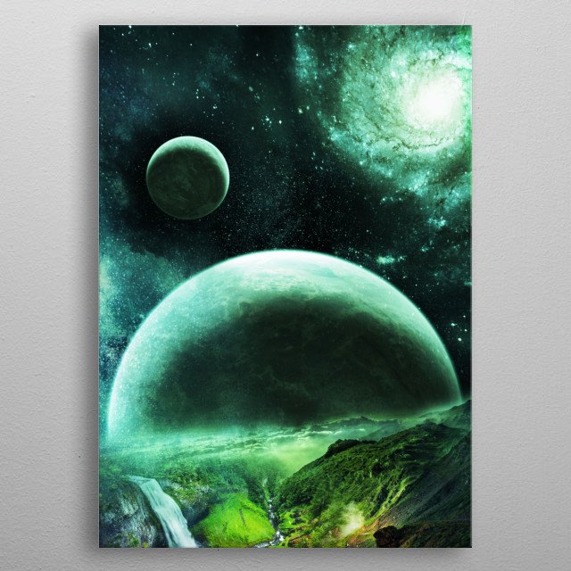 Rise of planets over an alien planet. metal poster