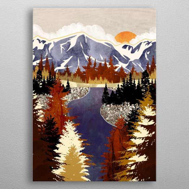 Abstract landscape of a river in autumn with brown, trees and purple metal poster