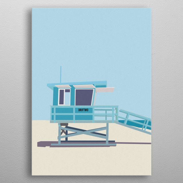 A bold and contemporary graphic in on-trend pastel blues. Inspired by USA lifeguard stations. metal poster