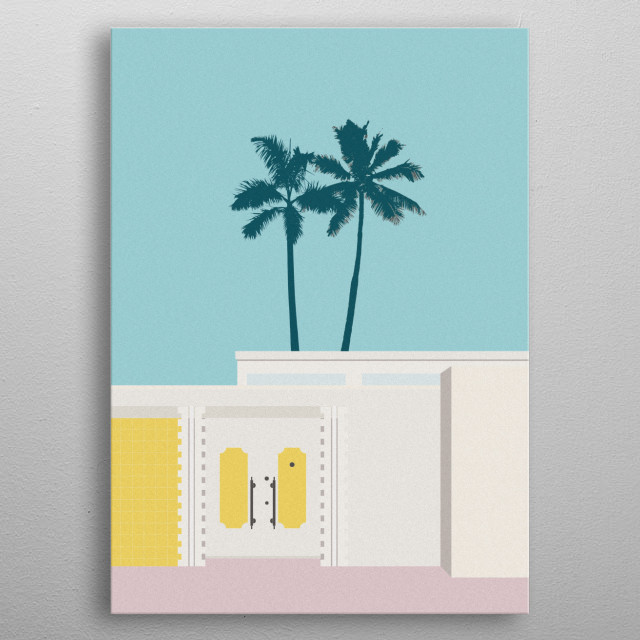 A bold and contemporary graphic in on-trend pastel colours inspired by the mid century modern architecture of Palm Springs, USA.  metal poster