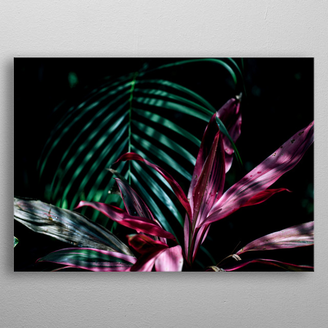 botanical garden leaves and flowers metal poster