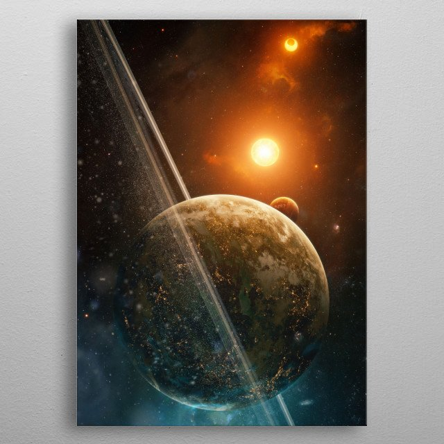 Distant world somewhere in space. metal poster