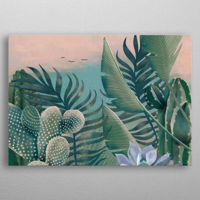 Rose sky kissing the sea. Tropical plants&Cactus  metal poster