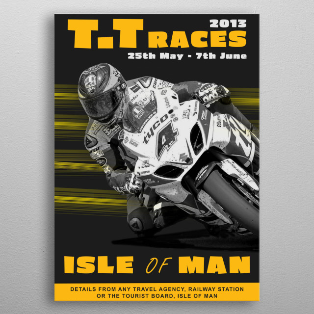 Retro looking poster showing Guy Martin on the Tyco Suzuki!  metal poster