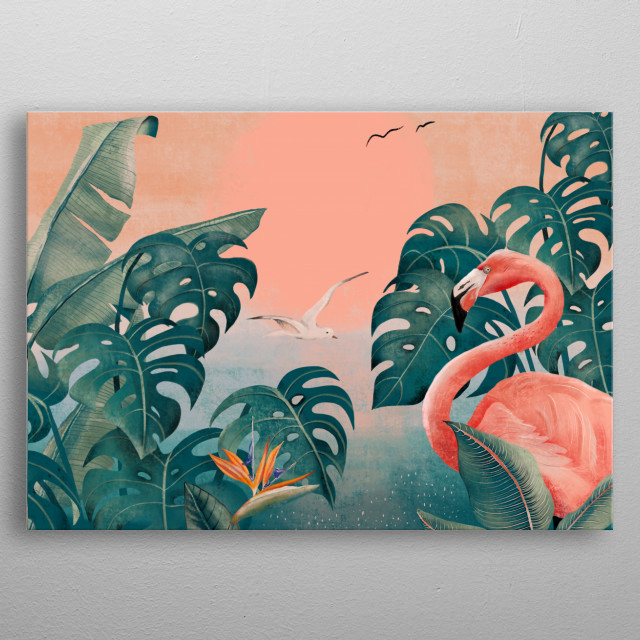 Monstera leaves and flamingo. metal poster