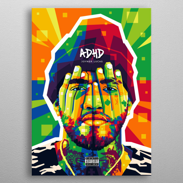 Colorful popart illustration of American Rapper Joyner Lucas. metal poster