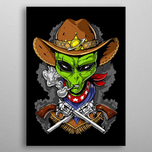 Space Alien Cowboy metal poster for men and boys alien lovers. metal poster