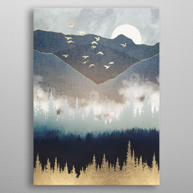 Abstract landscape of blue mountain mist with gold, trees and green metal poster