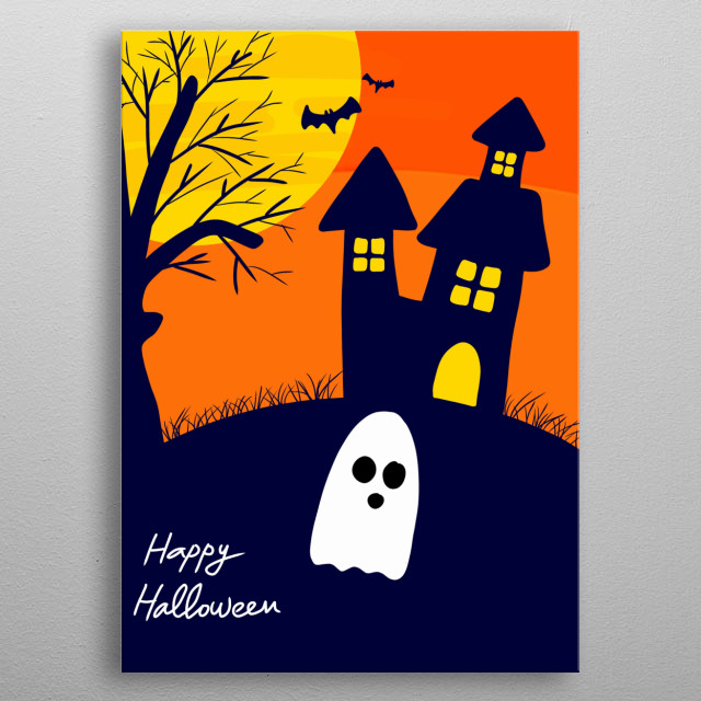 Happy Halloween Hand Drawn Illustration metal poster