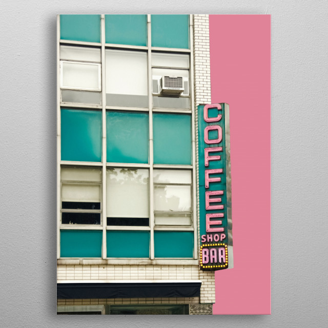 Coffee shop wall art comprised of my original photo of an aqua and white New York City coffee shop on pink. metal poster