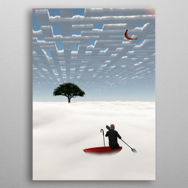Surreal skyscape. Man floats in red umbrella metal poster
