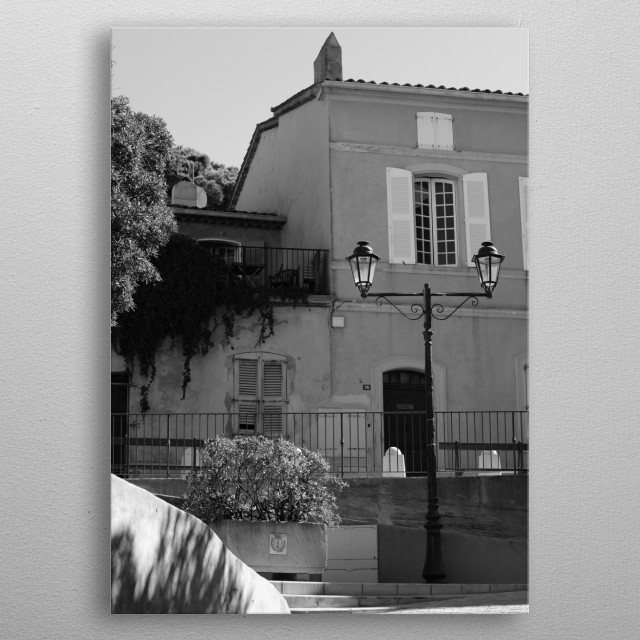 Street view in Saint-Tropez by photographer Tom V.  (La Ponche in Saint-Tropez in the old village) metal poster