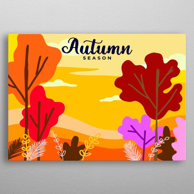 Autumn design illustration colorful style metal poster