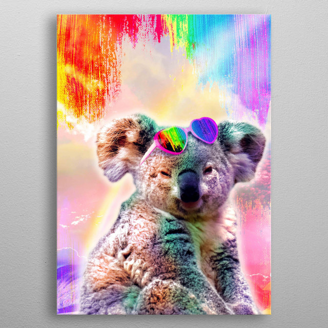 Pick up this cute funny rainbow koala design featuring a koala wearing love heart glasses. This makes a perfect gift so pick one up today.  metal poster